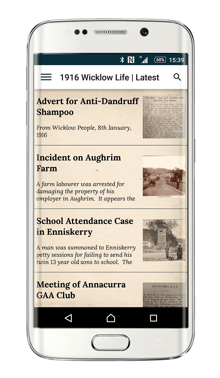 1916 Wicklow Life app as seen on Samsung S6